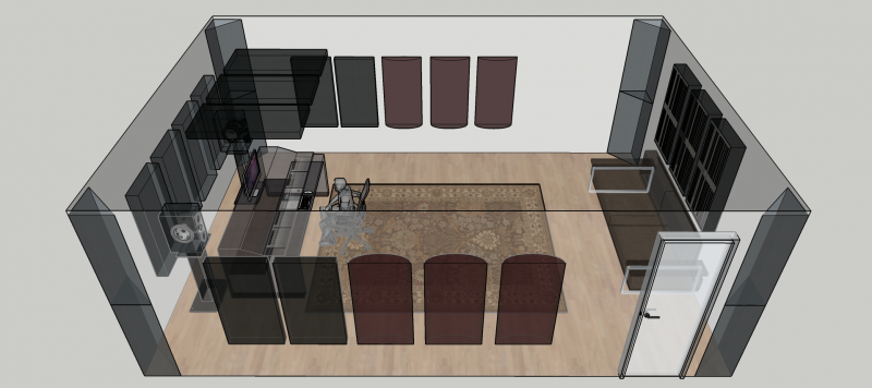 Home Recording studio example sketch GIK Acoustics Treated Room with PolyFusors and Bass Traps