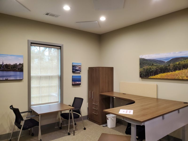 Acoustic Art Panels in office with landscape images and cityscapes