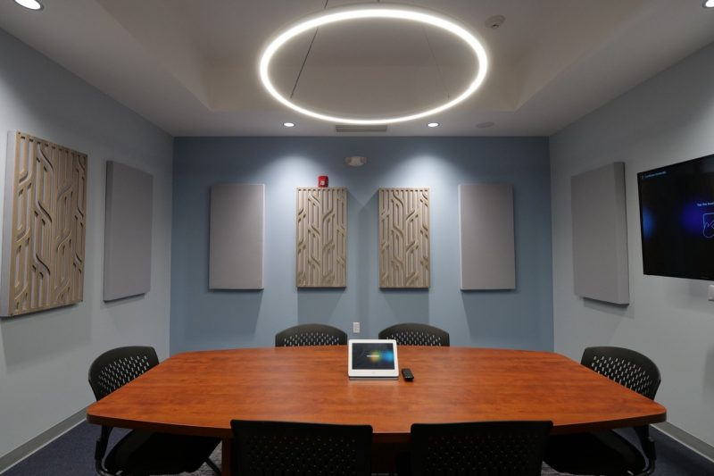 GIK Acoustics using Acoustic Panels in Conference Room with decorative acoustic panels straight on