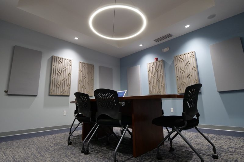 GIK Acoustics using Acoustic Panels in Conference Room with decorative acoustic panels