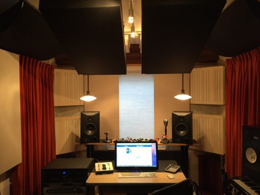 Alpha Series Absorber Diffusor Panels Bass Traps by GIK Acoustics in Barry Rudolph Room