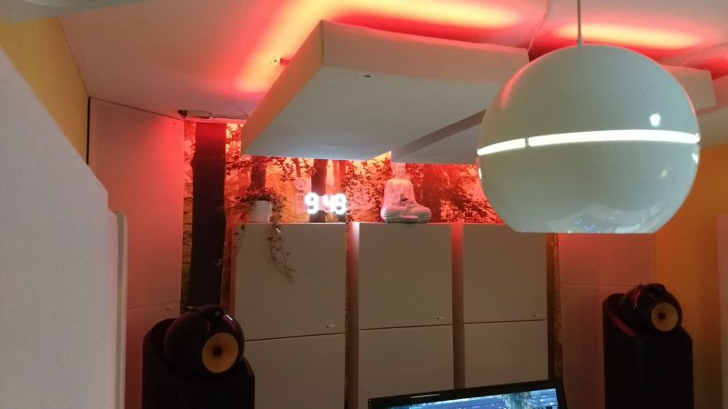 Tuned Membrane Bass Traps by GIK Acoustics in Da Goose Music Studio red lighting