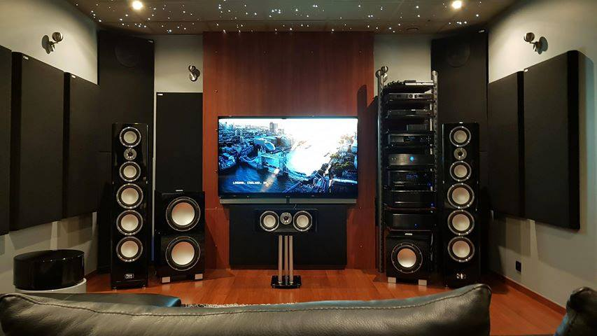 Home theater acoustic treatments with GIK 244 Bass Traps