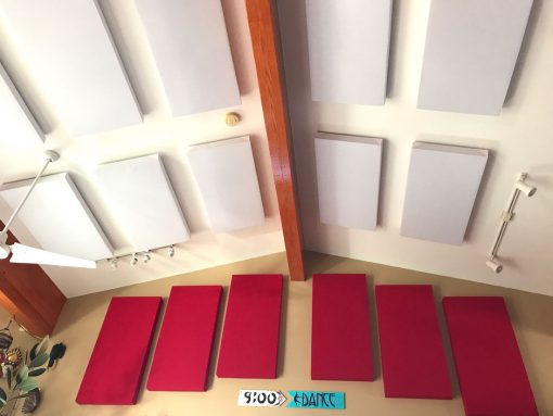 Eric Severn GIK Acoustics 242 acoustic panels on ceiling