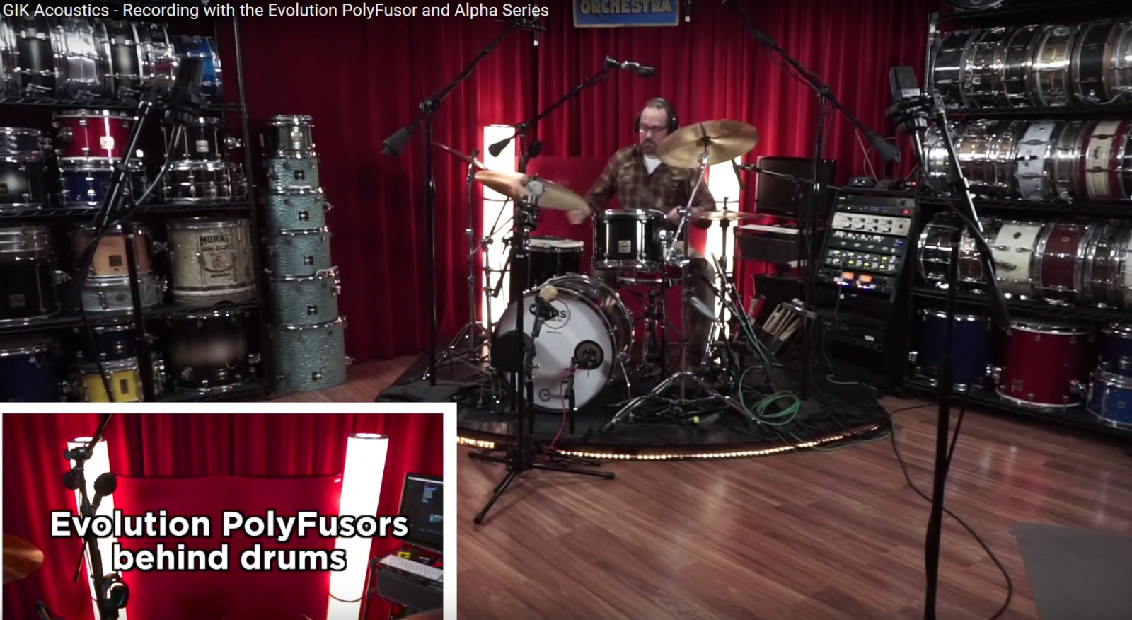 GIK Acoustics Drum Sessions recording with PolyFusor combination absorber diffusor panels