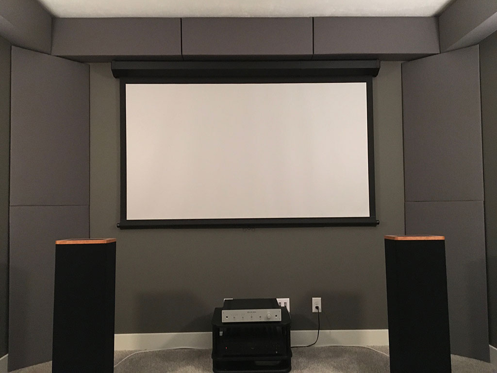 Home theater acoustics with GIK Acoustics soffit bass traps and corner bass traps