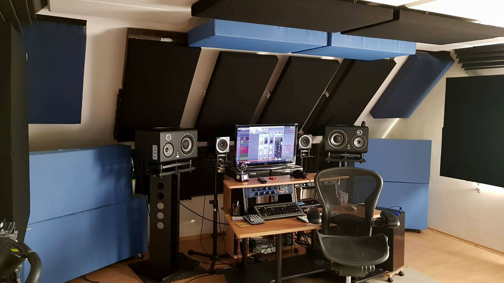Cristian Paul Sasarman studio GIK Acoustics bass traps and ceiling cloud bass traps monitors