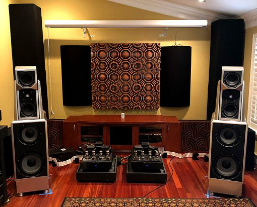 GIK Acoustics Gotham Diffusers on wall with bass traps and tritraps in corner bass traps