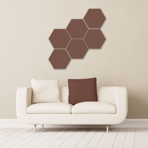 GIK Acoustics Brown Hexagon Acoustic Panels 1x1 decorative sound absorbing panels in room