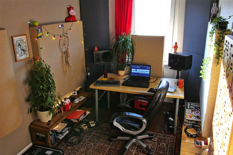 Max Hermann GIK Acoustics panels in home studio alpha series 2Da acoustic panels and plants