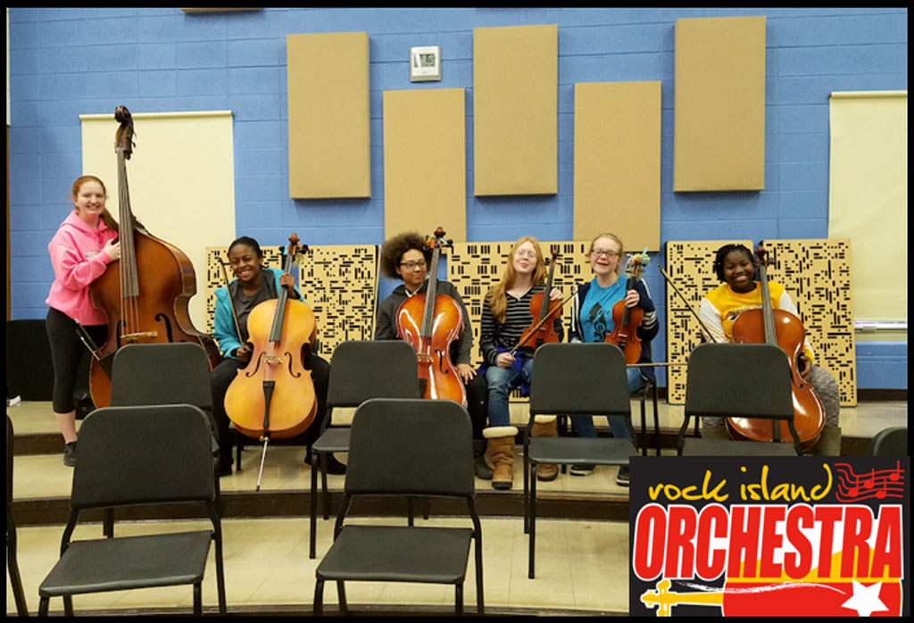 Rock Island Orchestra Katie Benson Alpha Series 2Da and acoustic panelswith players