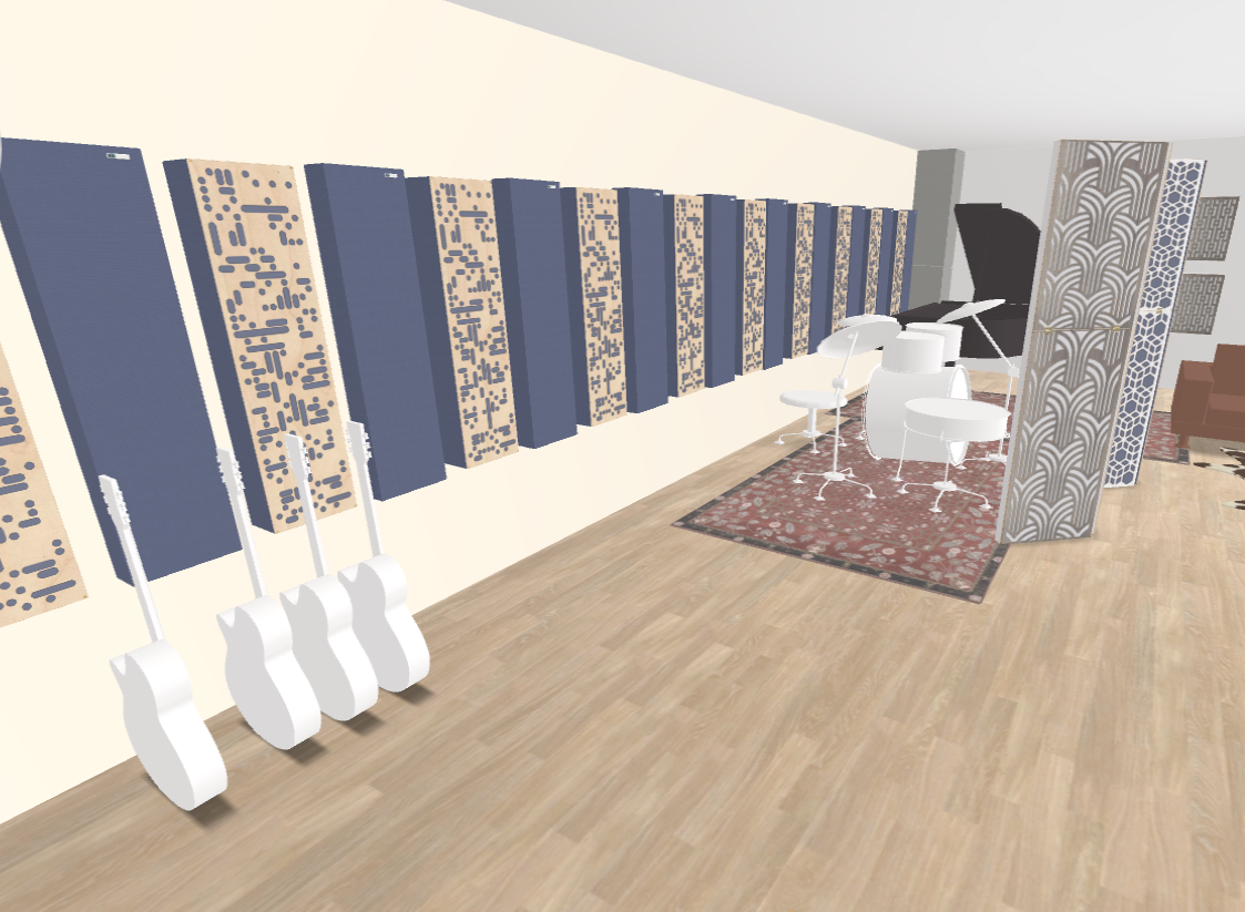 GIK Acoustics Recording Studio Live Room 3D Plan inside