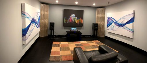 GIK Acoustics Demo Room art panels panoramic of listening room with corner bass traps