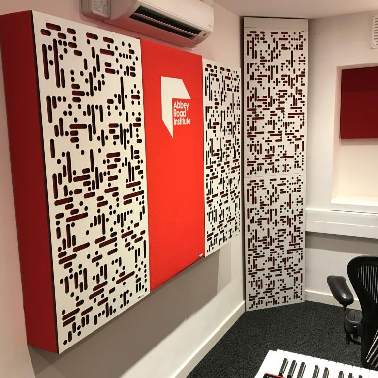 Abbey Road Institute Studio S6 GIK Acoustics ArtPanel Alpha Series Panels and Corner CT Alpha Bass Trap