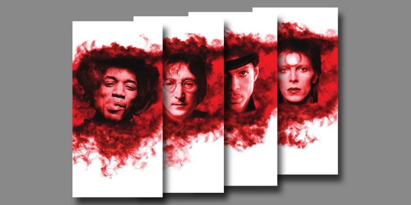 acoustic art panels with images of famous rock icons Jimi Hendrix, John Lennon, Prince, and David Bowie