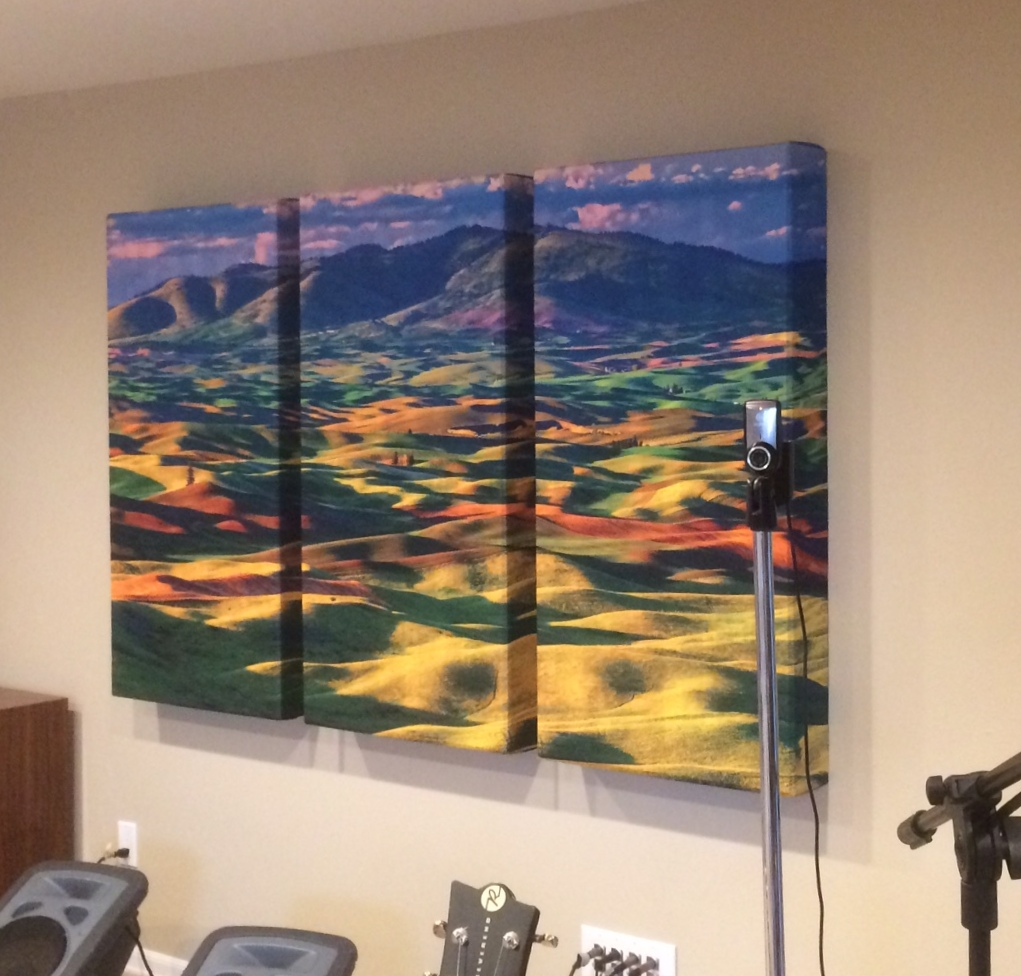 Acoustic Art Panel Triptych one image over 3 panels in live room